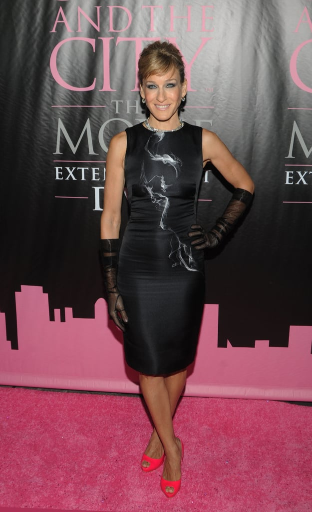 Parker looked smoking hot in a fitted Alexander McQueen, sheer gloves, and hot-pink peep-toes at the Sex and the City: The Movie DVD launch party in 2008.