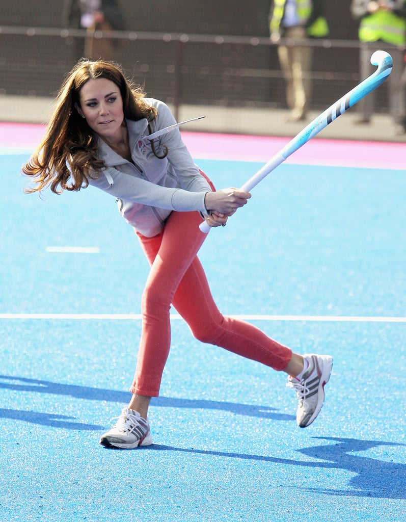 Kate Middleton in red pants in London's Olympic Park .