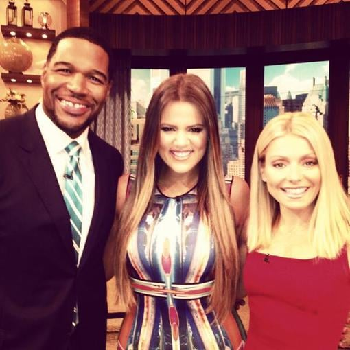 Khloé Kardashian posed with Michael Strahan and Kelly Ripa during an appearance on their talk show. Source: Twitter user michaelstrahan