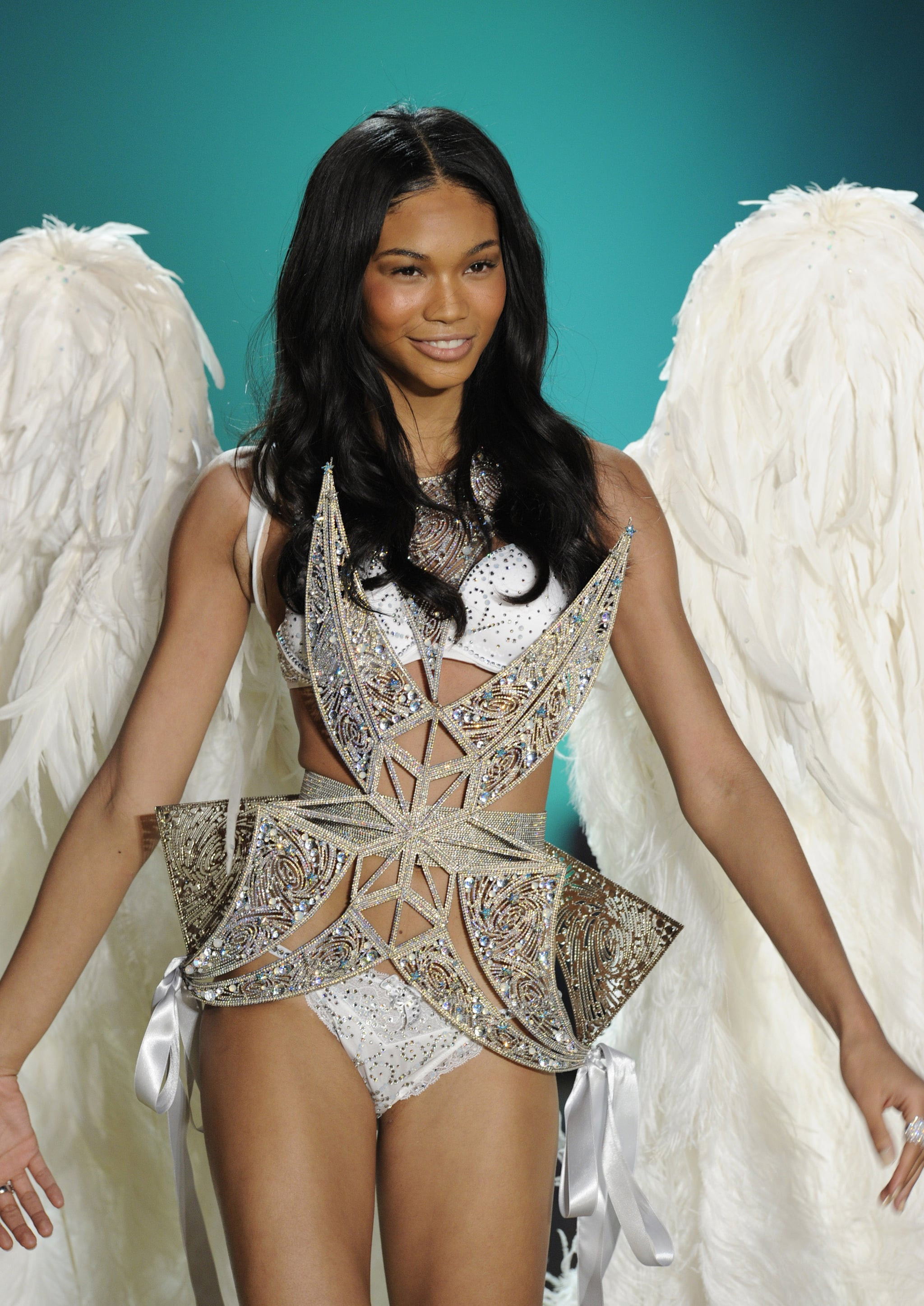 Chanel Iman walked the 2010 runway clad in crystals.