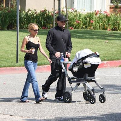 Nicole Richie and Joel Madden Take Baby Harlow Madden For a Walk