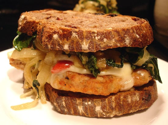 Recipe For Chicken Sandwich With Roasted Peppers, Onions, and Southern Greens