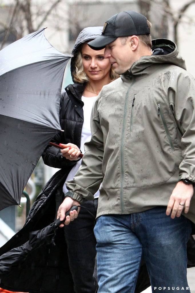 Cameron Diaz braved the rain in NYC to get to work on her film The Other Woman.