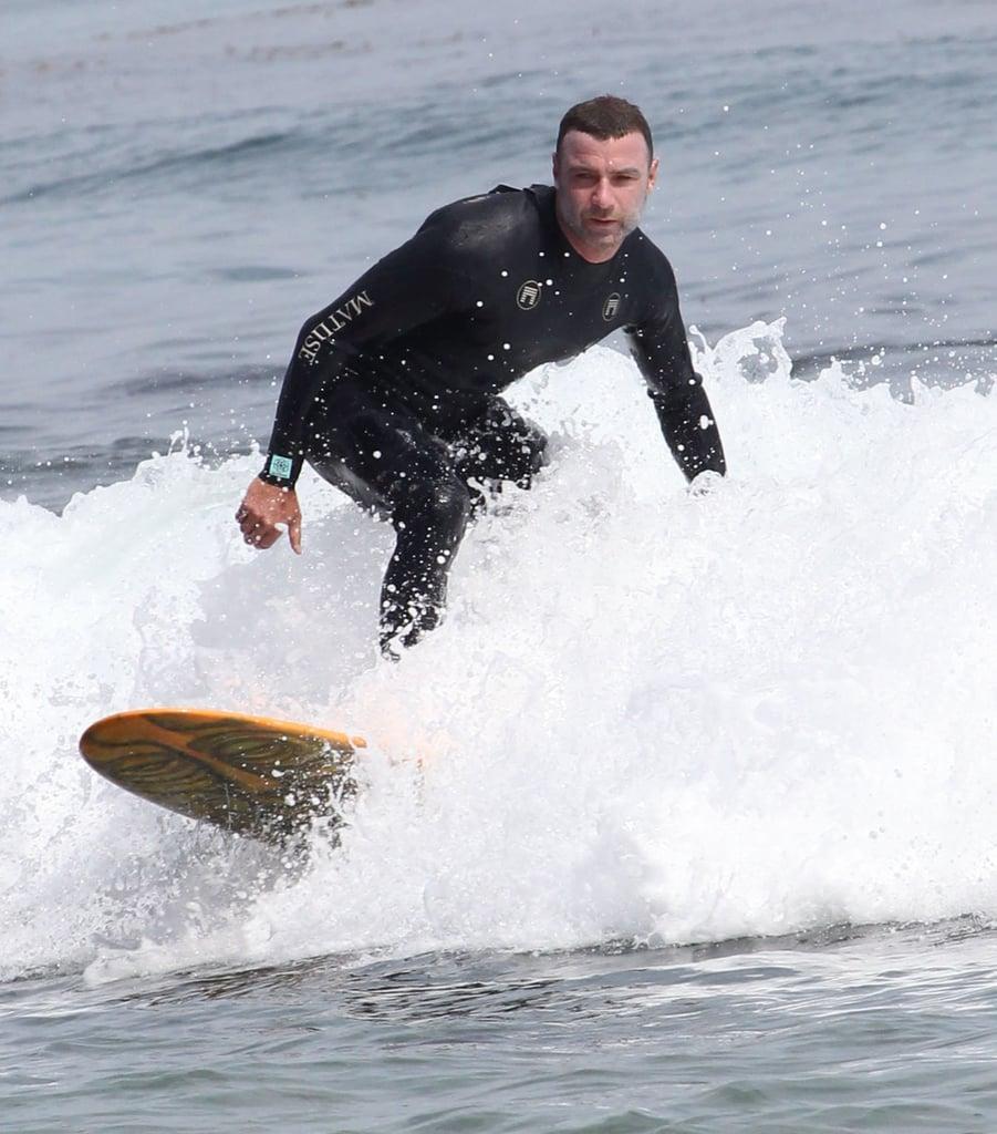 Liev Schreiber went surfing in Malibu, CA, on Saturday.