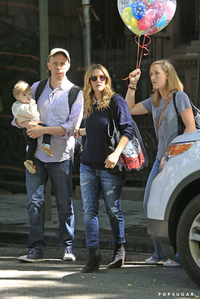 Drew Barrymore at Jimmy Fallon's Birthday With Baby Olive ...