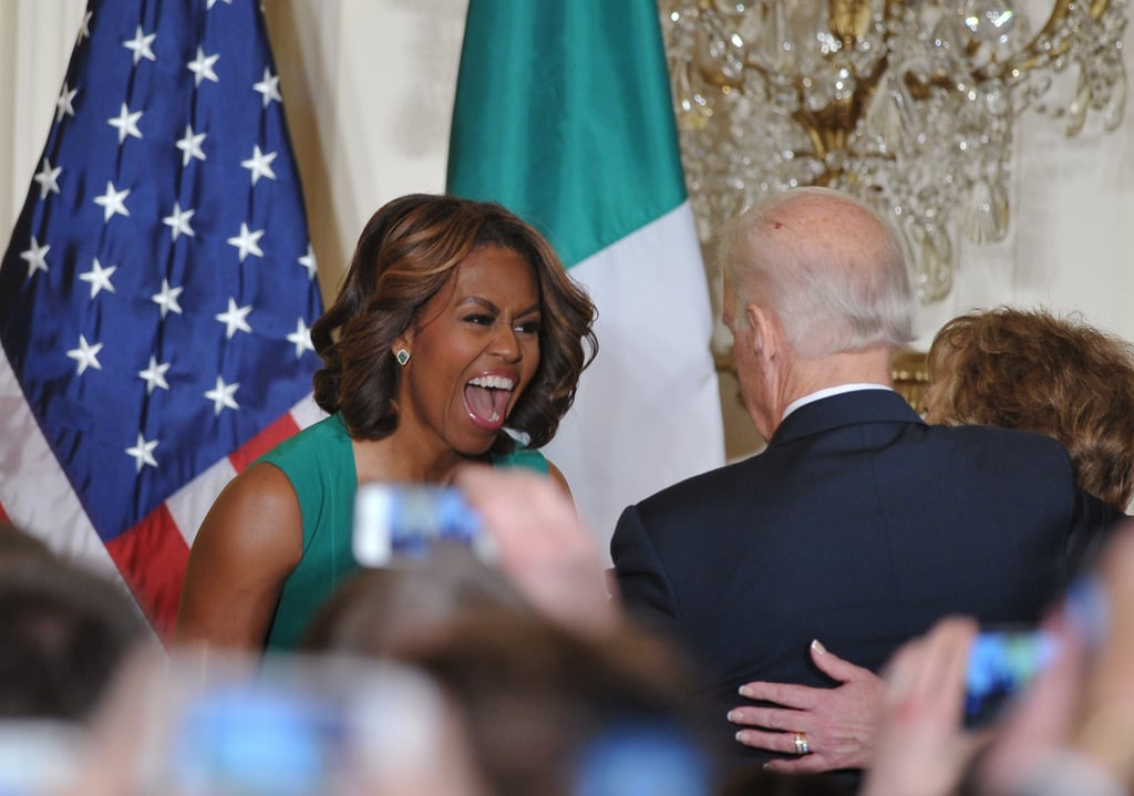 Michelle Obama cracked up with Vice President Biden during a St. Patrick's Day celebration at the White House.