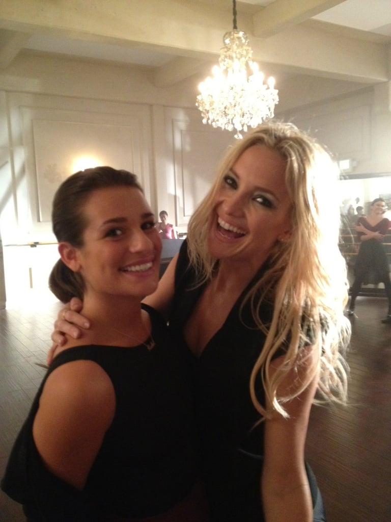 Kate Hudson and Lea Michele Buddy Up on the Set of Glee