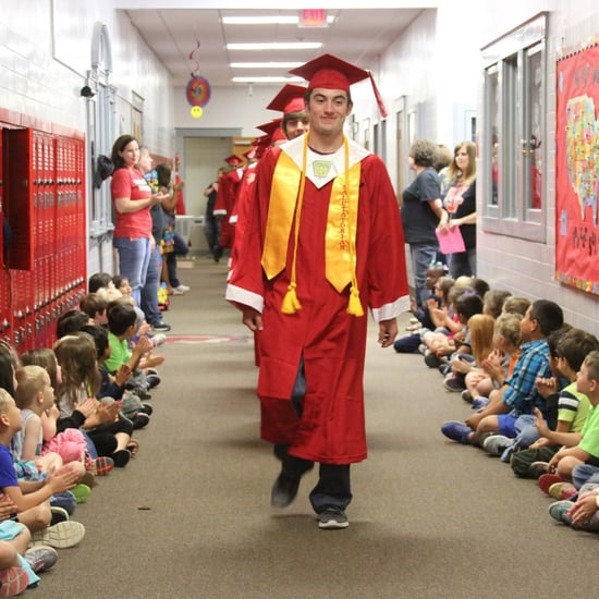 High School Seniors Walk Through Elementary Schools