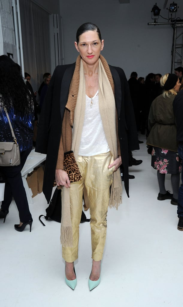When you have a favorite, stick with it. Jenna picked another pair of gold pants for a Fall 2014 fashion show in NYC.