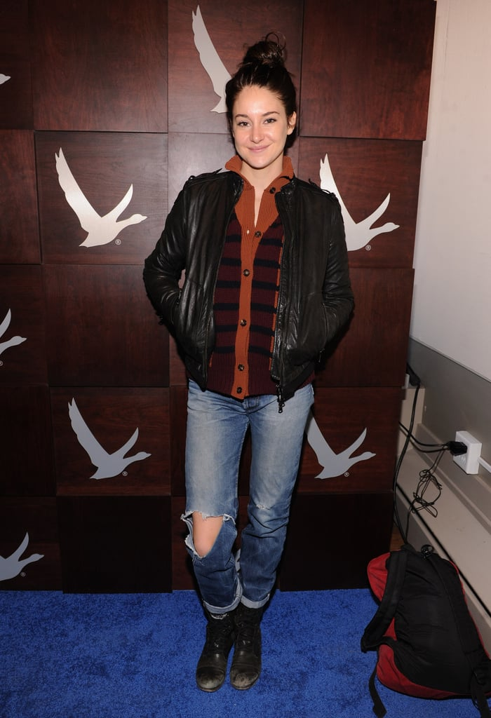 Shailene Woodley showed off her casual side in a sweater-and-leather-jacket combo on top and ripped jeans on the bottom.