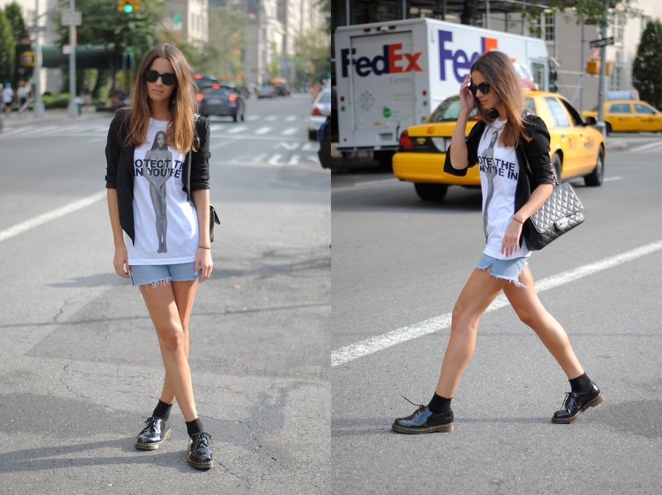 Add a slick topper and an even slicker handbag to your cutoff denim and Doc Martens look. Photo courtesy of Lookbook.nu