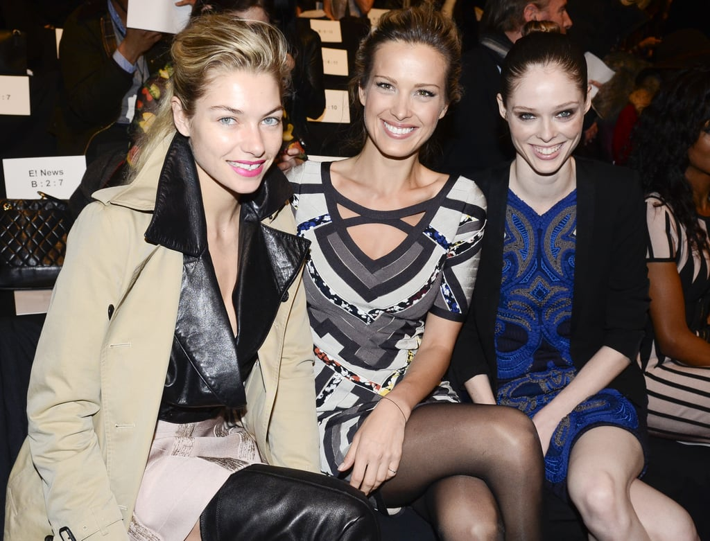 Clad in sexy over-the-knee leather boots, a textured mini, and classic trench, Jessica Hart had a model moment with Petra Nemcova and Coco Rocha during the Hervé Léger show.