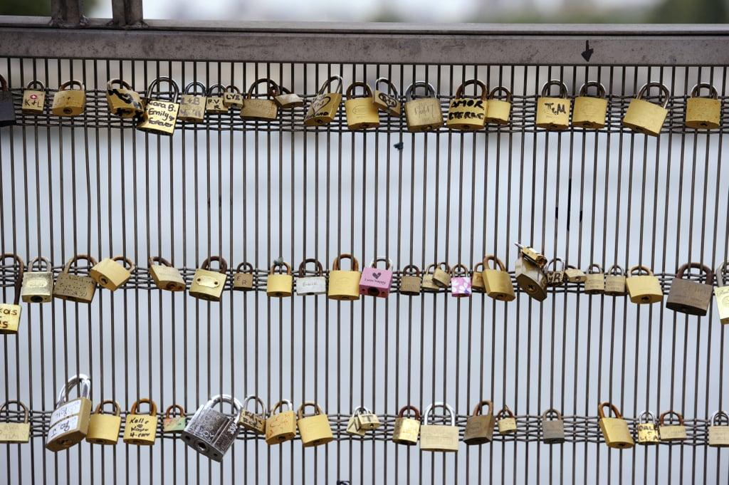 Locks of love on the Leopold Senghor bridge in Paris.