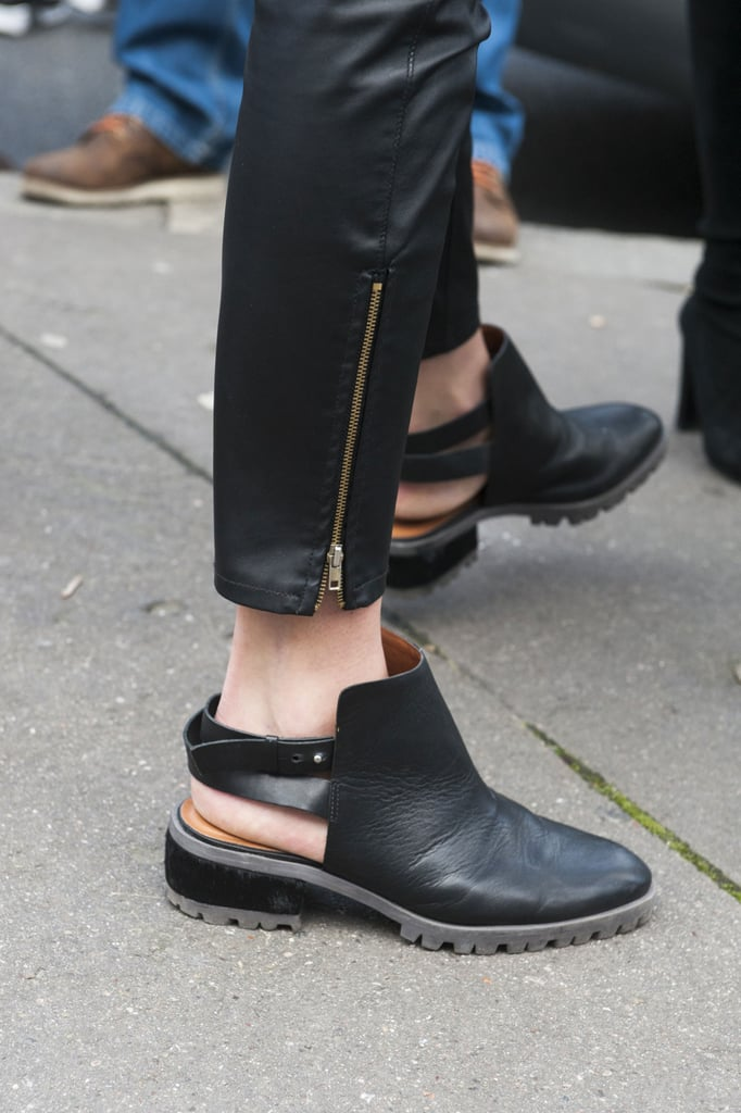Backless boots but a modern spin on a tough-girl shoe.