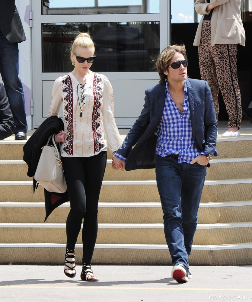 Nicole Kidman showed off a breezy printed lace-up Altuzarra blouse and black strappy Jimmy Choo sandals on her way to grab lunch with Keith Urban in Cannes.