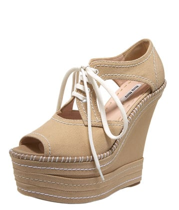 Miu Miu Lace-Up Canvas Wedge Sneaker ($570)