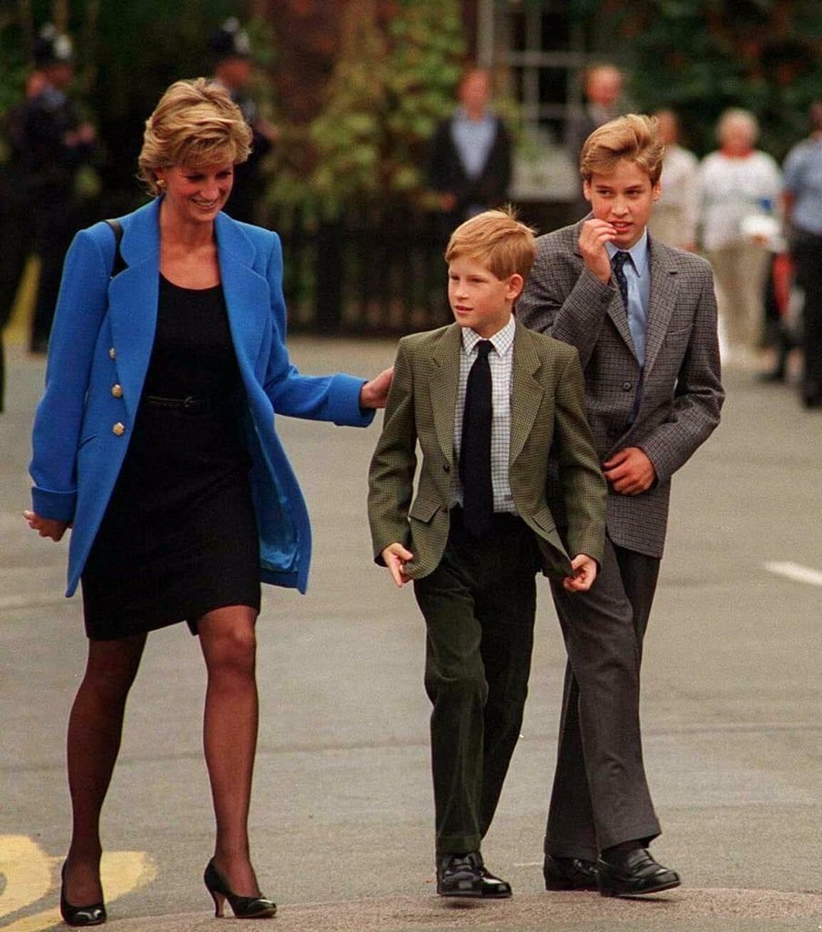Princess Diana walked with her dapper sons, Prince William and Prince Harry, in Windsor, England, in September 1995.