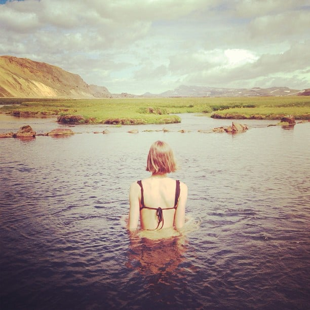 Karlie Kloss relaxed in a hot spring in Iceland. Source: Instagram user karliekloss