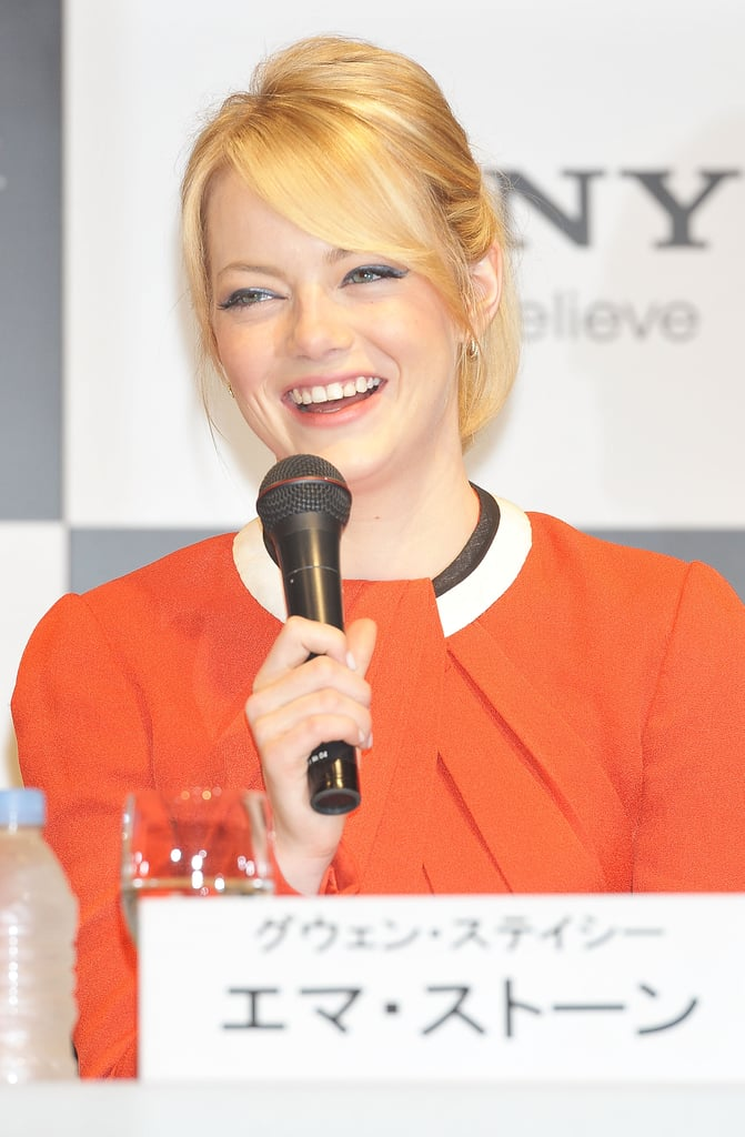 Emma Stone spoke at the press conference for The Amazing Spider-Man in Japan.