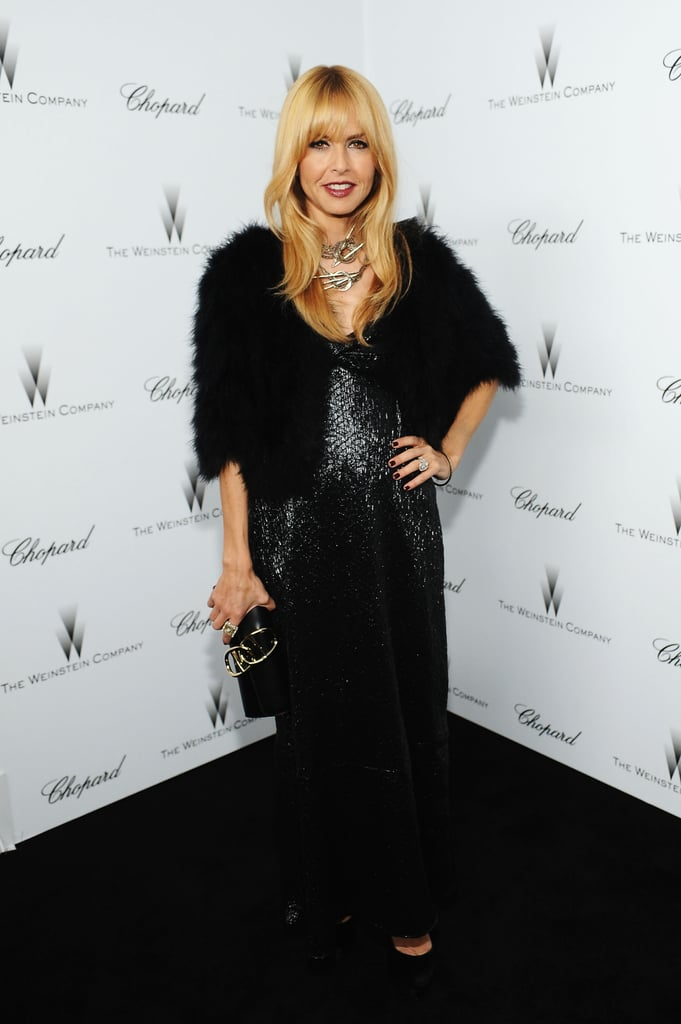 Rachel Zoe chose her signatures — sparkles and fur — for the Weinstein bash in LA.
