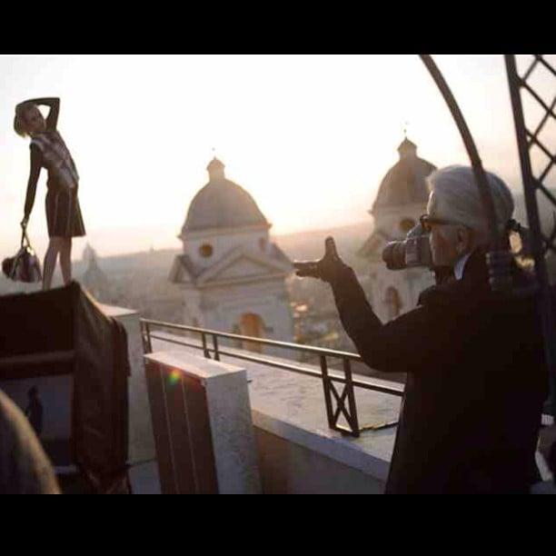 Cara turned the camera on Karl Lagerfeld at her Fendi shoot. Source: Instagram user caradelevingne