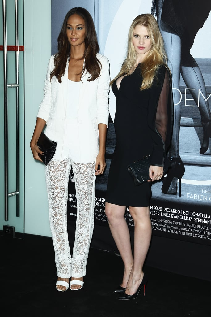 Joan Smalls and Lara Stone worked their Givenchy by Riccardo Tisci designs at the Mademoiselle C afterparty.