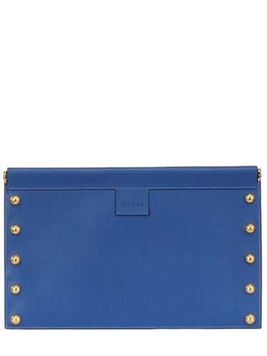 Studded Textured Leather Flat Clutch