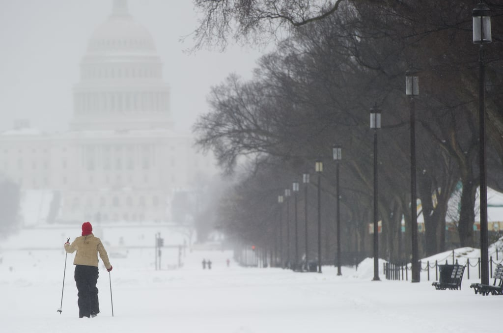 A skier took to the streets of Washington DC.