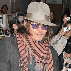 Pictures of Johnny Depp in Japan