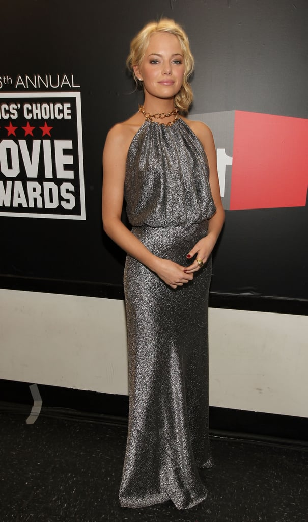 Emma Stone was a sight to behold in this slightly Grecian-inspired silver halter dress, which she wore to the 2011 Critics' Choice Movie Awards.