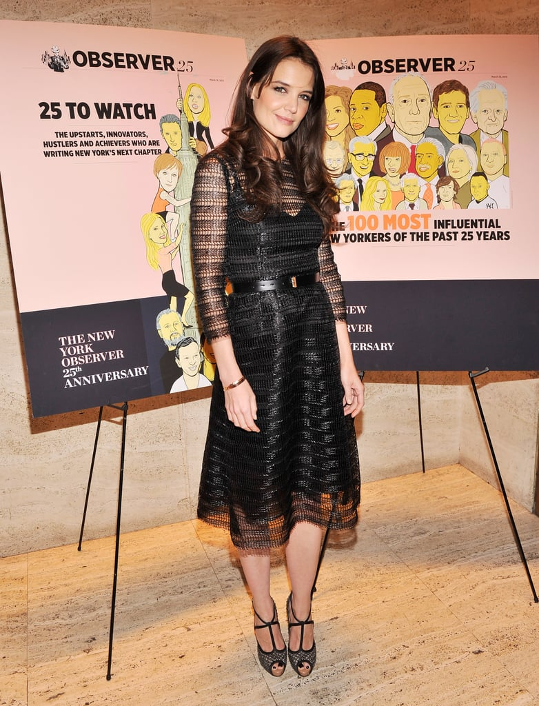 Katie Holmes glammed it up in a Dolce & Gabbana cocktail dress for The New York Observer's 25th anniversary party.