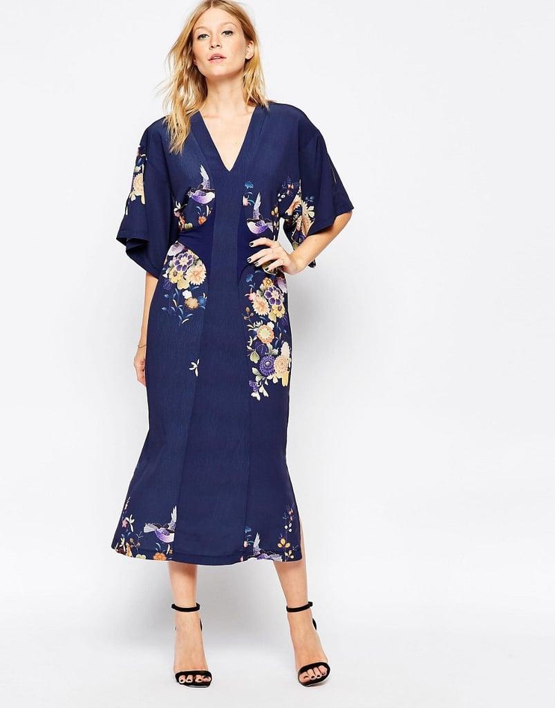 Liquorish Midi Kimono Dress in Digital Eastern Print ($121)