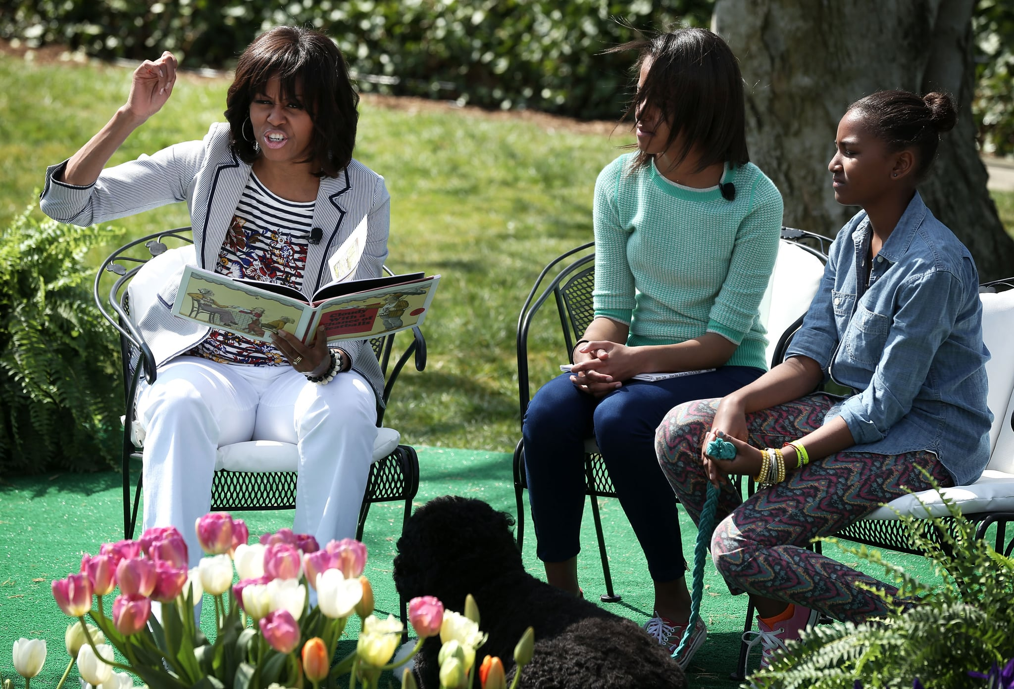 First Lady Michelle Obama With Malia and Sasha, 2013