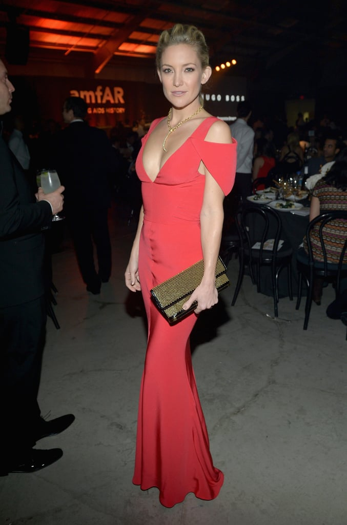 Kate Hudson chose a red dress to attend the amfAR Inspiration Gala in LA.