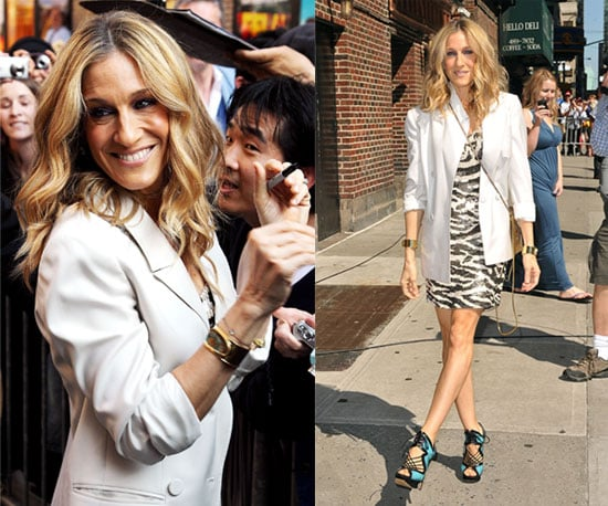 Sarah Jessica Parker in NYC Wearing Sequined Zebra Dress, White Blazer, and Nicholas Kirkwood Sandals 2010-05-26 14:30:06