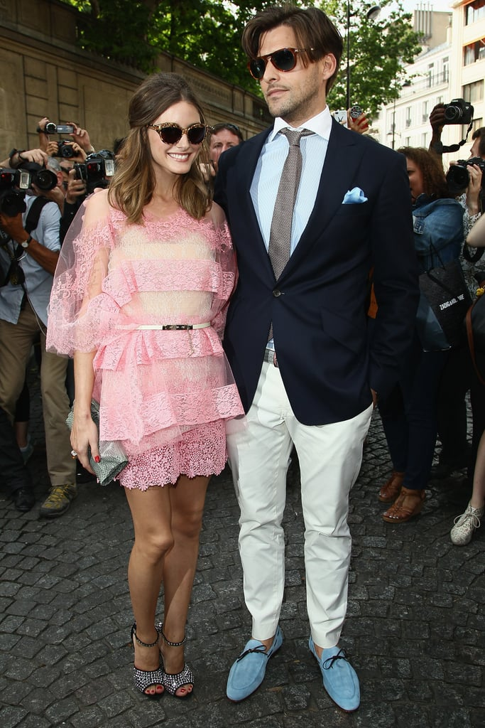 Good-looking-couple alert: Olivia Palermo, in petal pink Valentino, and beau Johannes Huebl made their way to the Valentino show.