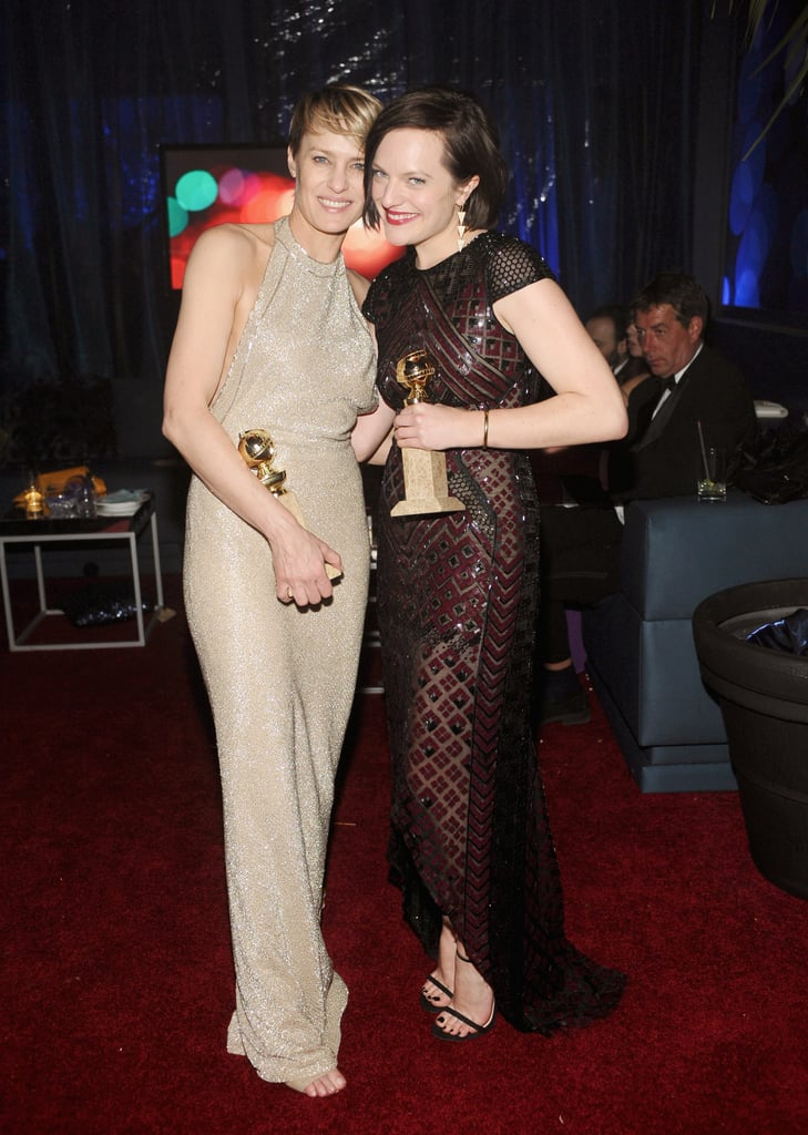 Robin Wright and Elisabeth Moss flaunted their new awards at the InStyle and Warner Bros. bash.