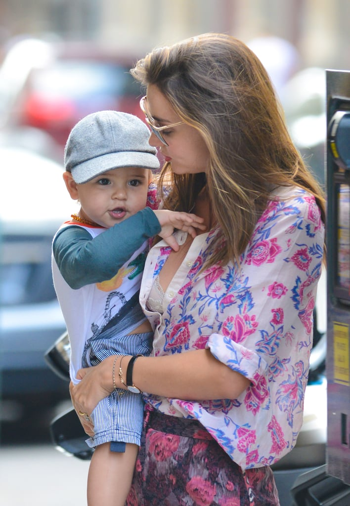 Miranda Kerr Gives Her Growing Son Flynn Bloom a Lift in NYC