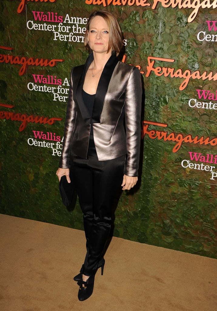 Jodie Foster hit the Annenberg Gala with a metallic blazer paired with her black heels.