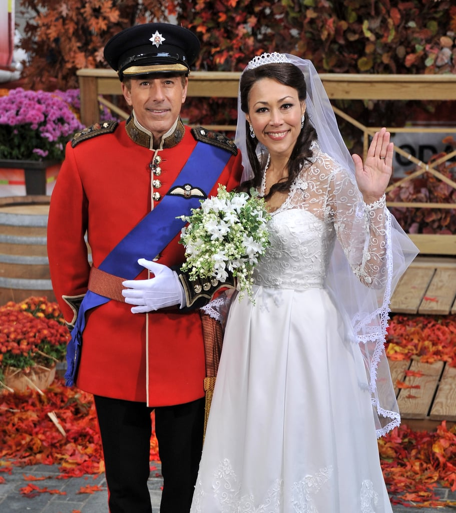 Matt Lauer and Ann Curry in royal wedding costumes.