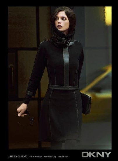 Structured black dresses take shape on Ashley Greene in the latest DKNY ad.