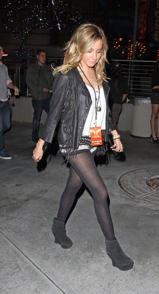 Ashley Tisdale at the Jay-Z and Kanye West concert in LA.