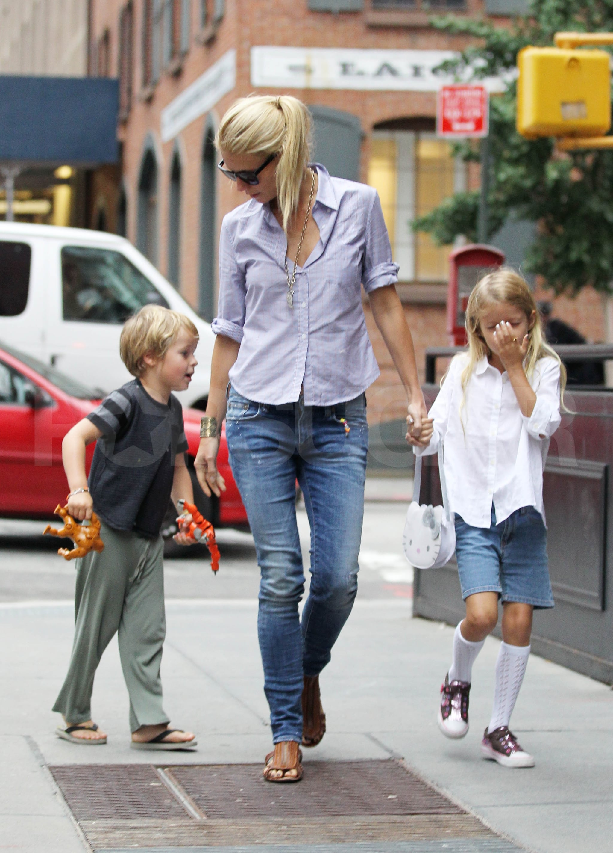 Gwyneth Paltrow on her birthday with kids Apple Martin and Moses Martin.