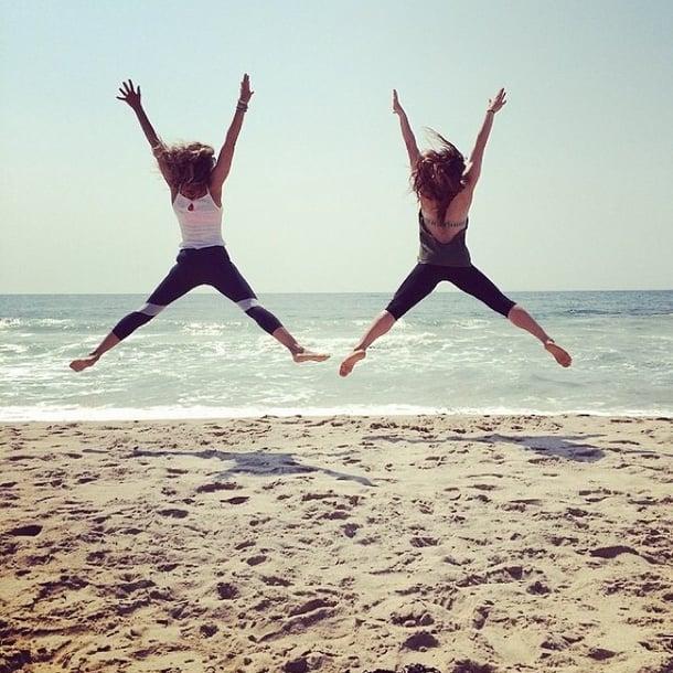 SJP got in a beach workout with her trainer.  Source: Instagram user sarahjessicaparker
