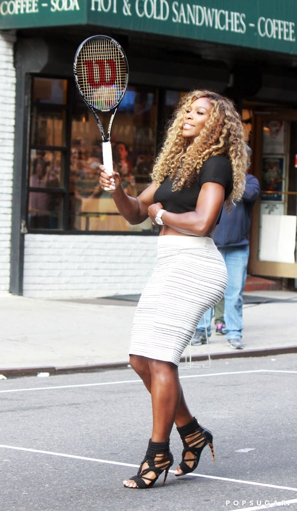 Serena Williams showed off her tennis moves in a skirt and serious stilettos during an episode of Late Show With David Letterman in NYC on Wednesday.