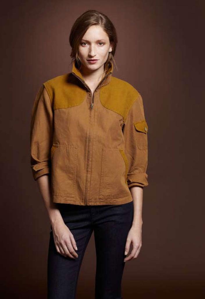 Cotton Linen Field Coat, $175; Six Pocket Skinny Jean, $69