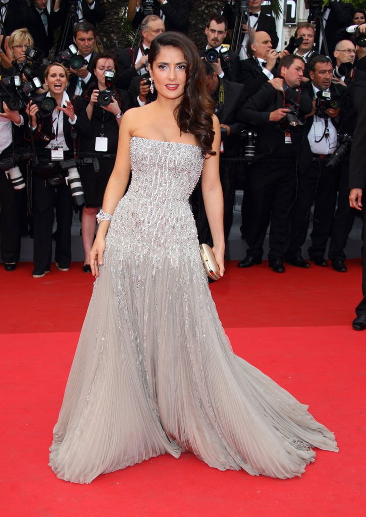 Salma Hayek wore a strapless gray Gucci Premiere gown to the 2011 Cannes premiere of Midnight in Paris.
