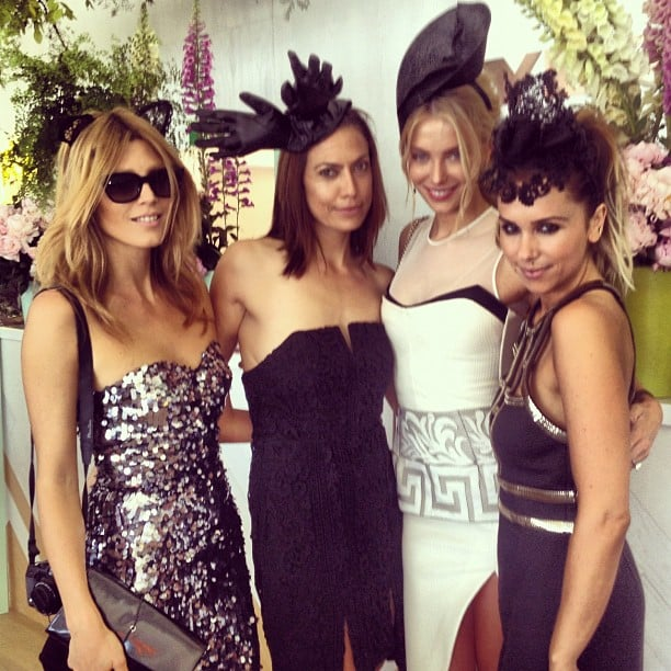 Tanya G, Jaz Daly, Jennifer Hawkins (wearing Manning Cartell dress and Melissa Jackson headpiece) and Pip Edwards. Source: Instagram user pip_edwards1