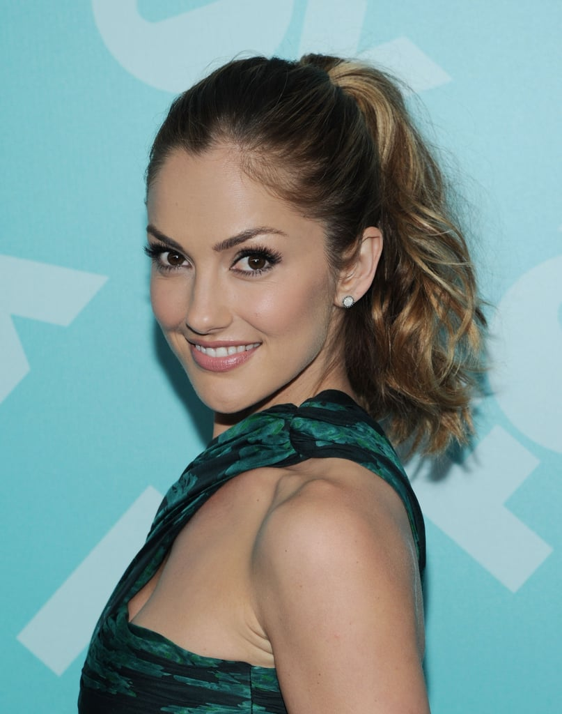 Minka Kelly's ombré hair colour stands out best when her hair is styled in a high ponytail.