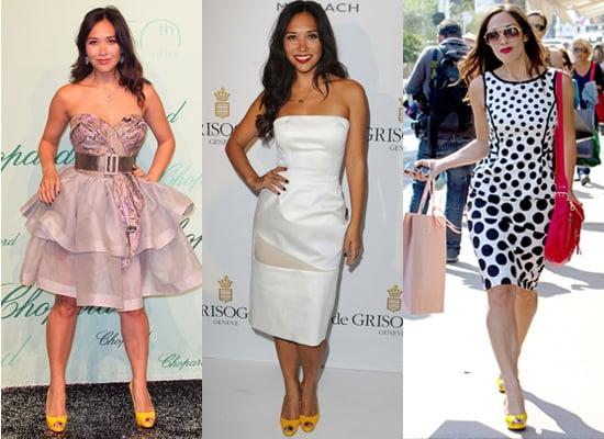 Photos of Myleene Klass at Cannes Film Festival in Yellow Heels